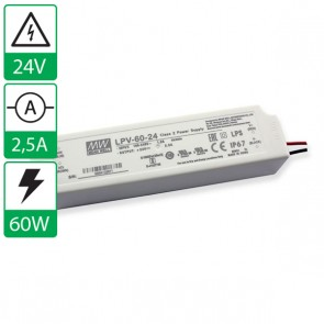 24V 2,5A 60W Mean well voeding LPV-60-24